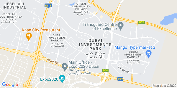 Google Map of Dubai+Investment+Park+598-1121%2C%0AP.O.+Box+1788%2C+Dubai%2C+U.A.E.