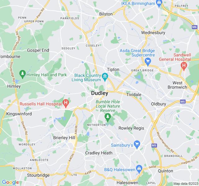 Website Designer Dudley Google map of location