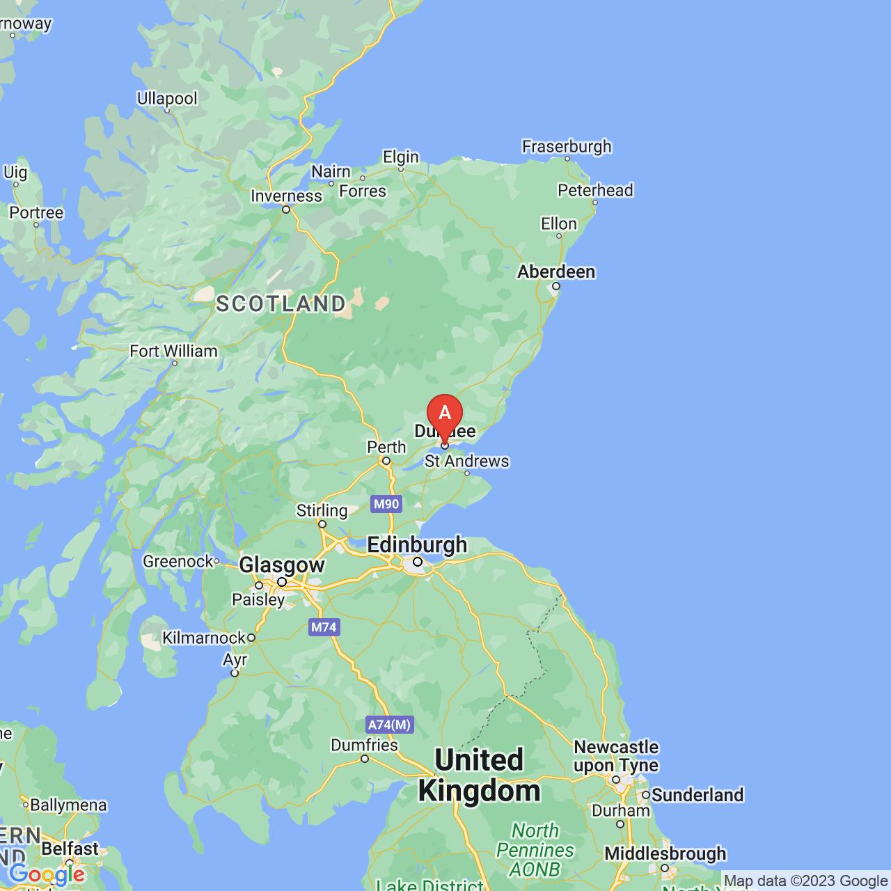Dundee, Scotland Map