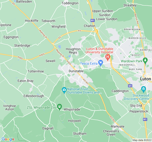 Website Designer Dunstable Google map of location