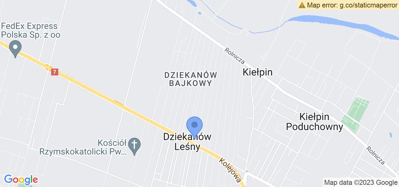 Jedna z ulic w Dziekanowie Leśnemu – Czerwonego Kapturka i mapa dostępnych punktów wysyłki uszkodzonej turbiny do autoryzowanego serwisu regeneracji