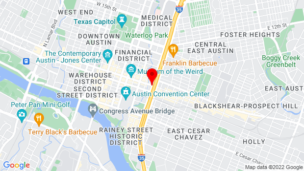 Google Map of East Sixth Street from I-35 to Brazos Street, North side of 5th Street to South side of 7th Street, Austin, TX