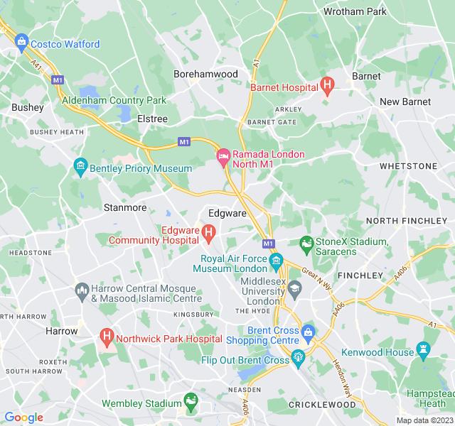 Website Designer Edgware Google map of location