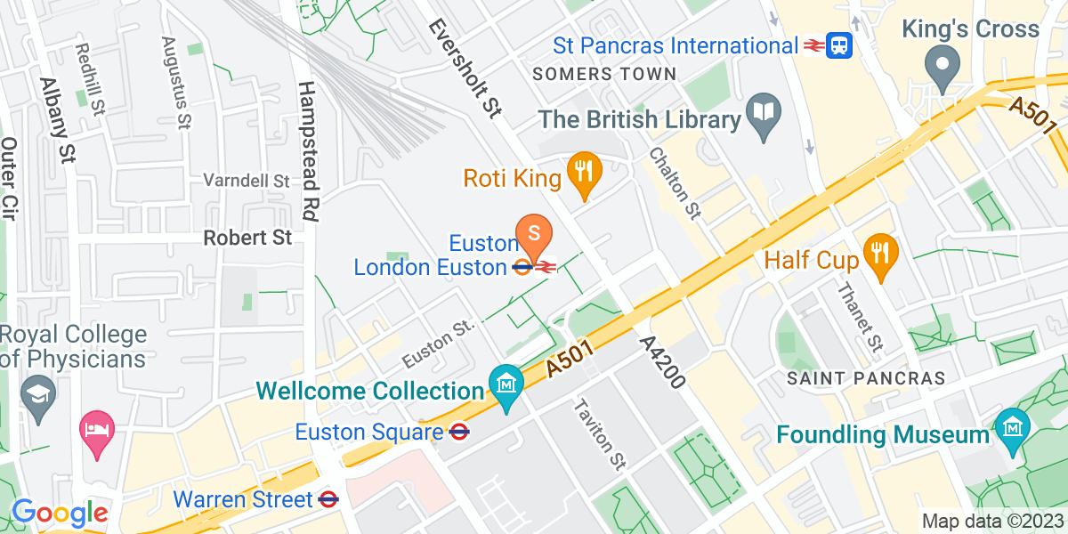 Google Map of Euston Station London NW1 2DU