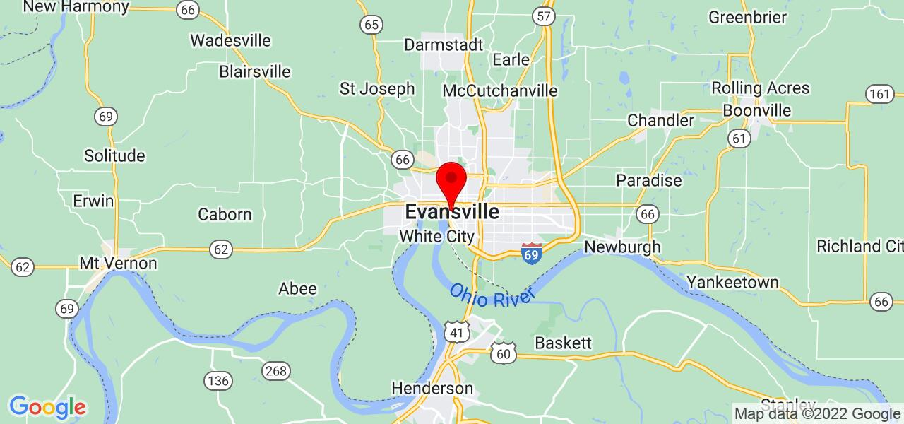 Google Map of Evansville, IN