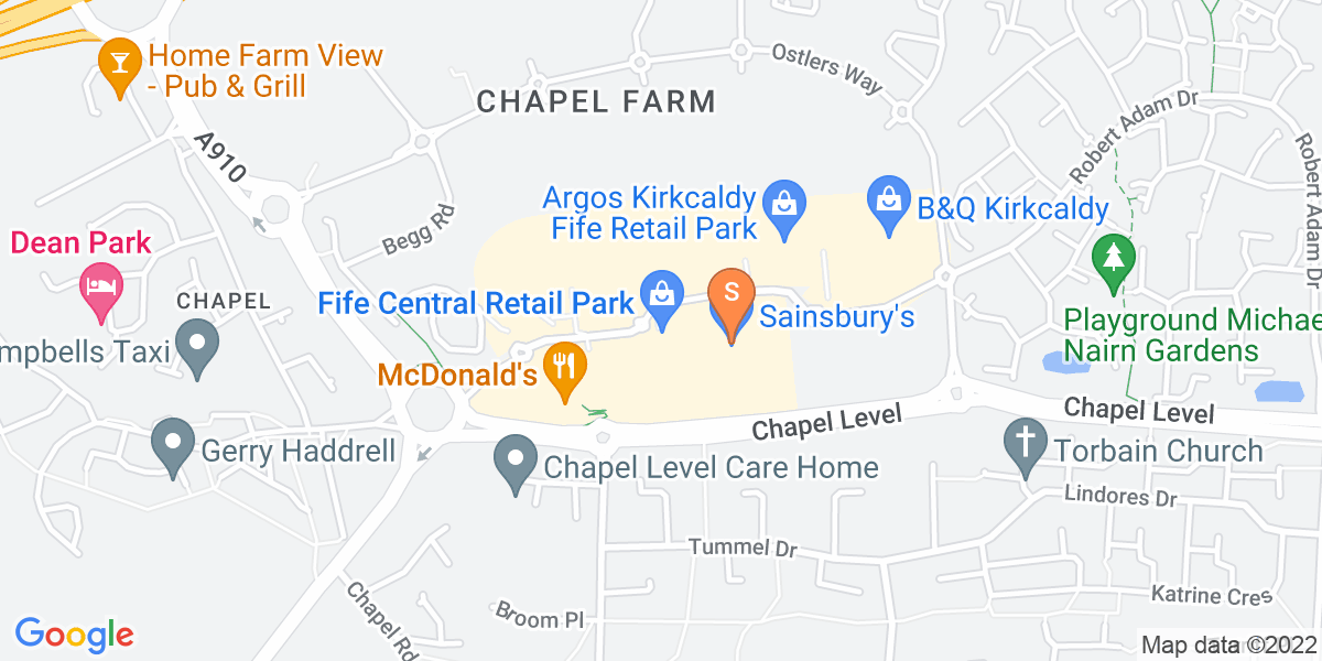 Google Map of Fife Central Retail ParkChapel Park Kirkcaldy KY2 6QL