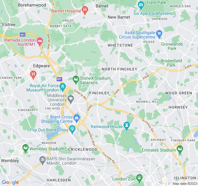 Website Designer Finchley Google map of location