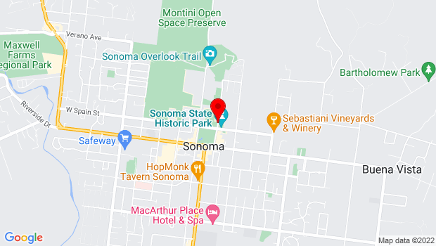 Google Map of First Street East, Sonoma, CA 95476