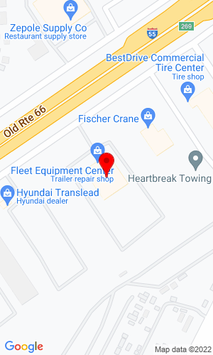 Google Map of Fleet Equipment Center Inc. 555 E. South Frontage Rd., Bolingbrook, IL, 60440