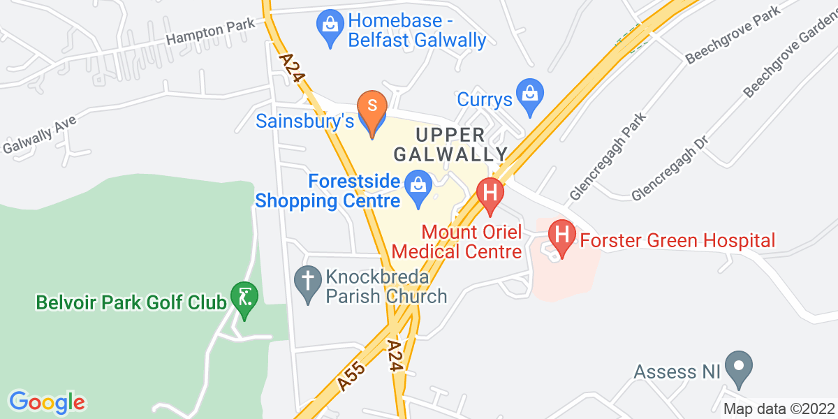 Google Map of Forestside Shopping CentreUpper Galwally Belfast BT8 6FX