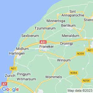 Werkgebied van onze bestrijder in Franeker