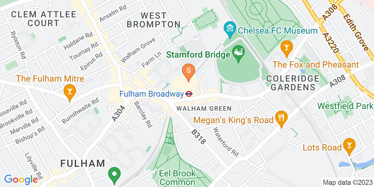 Google Map of Fulham Broadway Retail CentreFulham Broadway London SW6 1BW