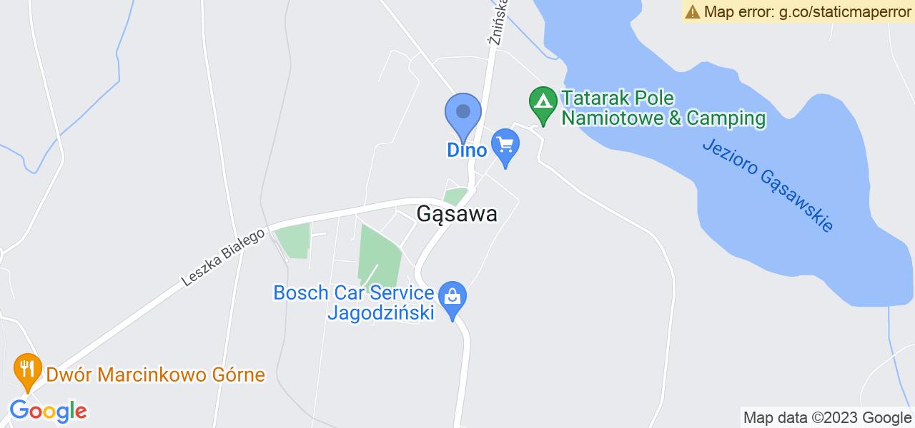 Jedna z ulic w Gąsawie – Krótka i mapa dostępnych punktów wysyłki uszkodzonej turbiny do autoryzowanego serwisu regeneracji