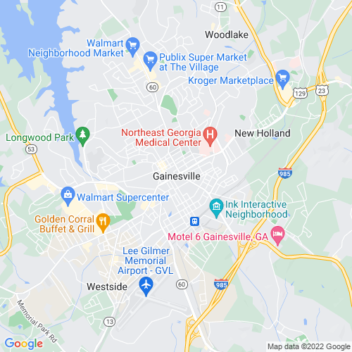 Map of Gainesville, GA