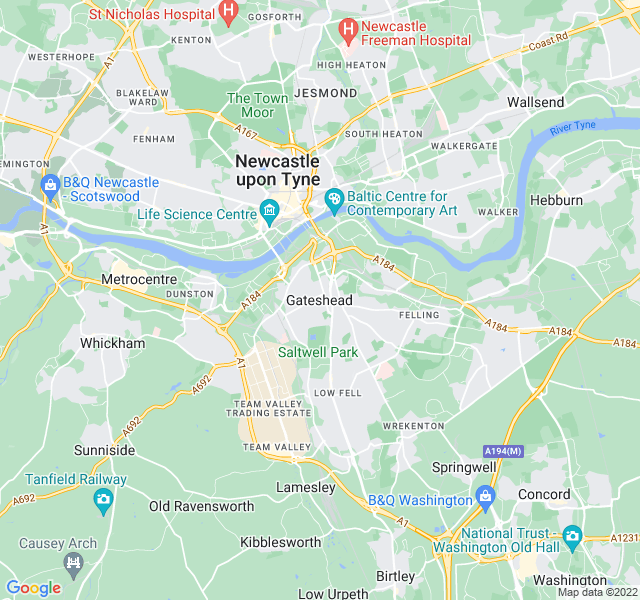 Website Designer Gateshead Google map of location