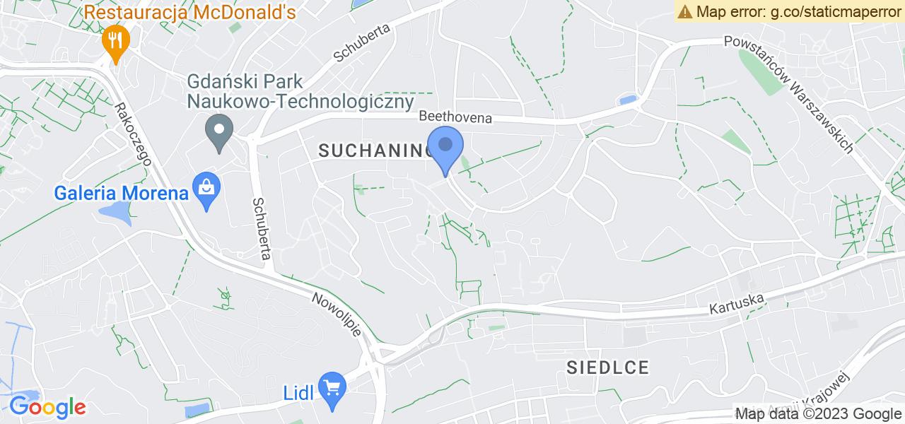 Jedna z ulic w Gdańsku – Paderewskiego i mapa dostępnych punktów wysyłki uszkodzonej turbiny do autoryzowanego serwisu regeneracji