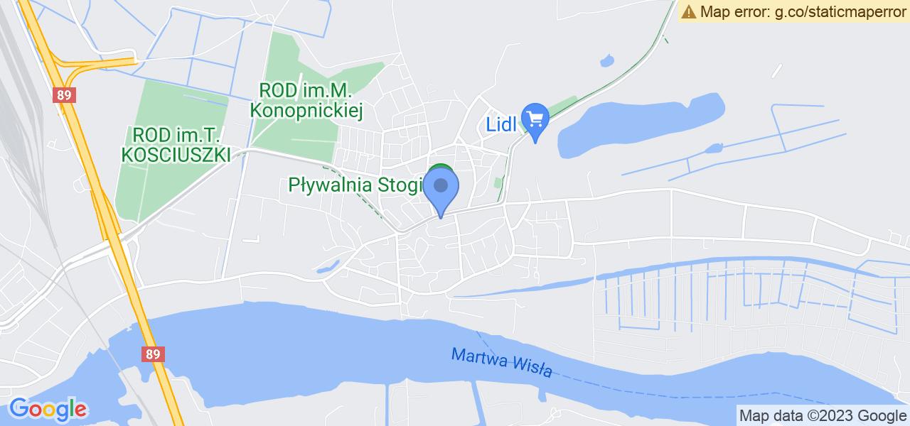 Jedna z ulic w Gdańsku – Stryjewskiego i mapa dostępnych punktów wysyłki uszkodzonej turbiny do autoryzowanego serwisu regeneracji