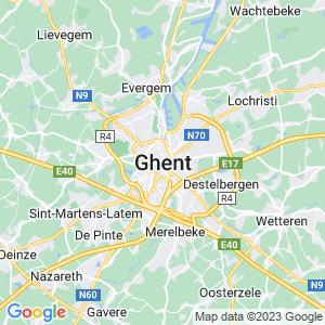 Werkgebied van onze bestrijder in Gent