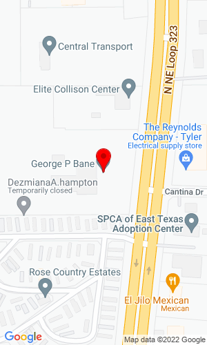 Google Map of George P. Bane, Inc. 3402 N Northeast Loop 323, Tyler, TX, 75708