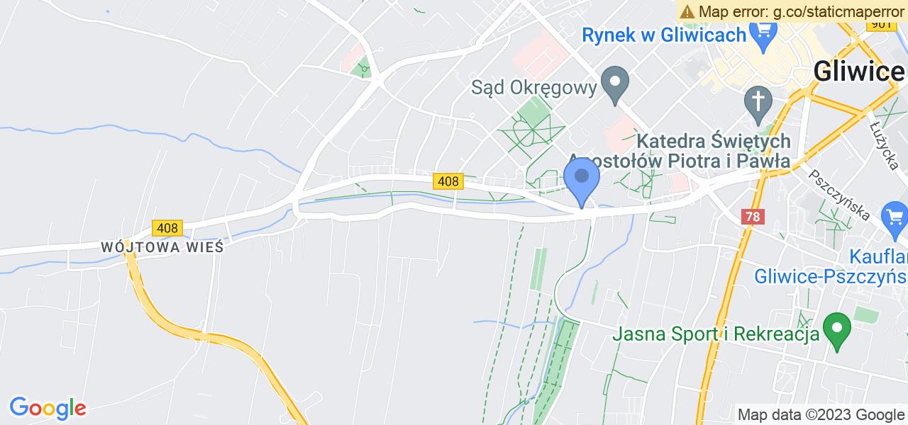 Jedna z ulic w Gliwicach – Dolnej Wsi i mapa dostępnych punktów wysyłki uszkodzonej turbiny do autoryzowanego serwisu regeneracji