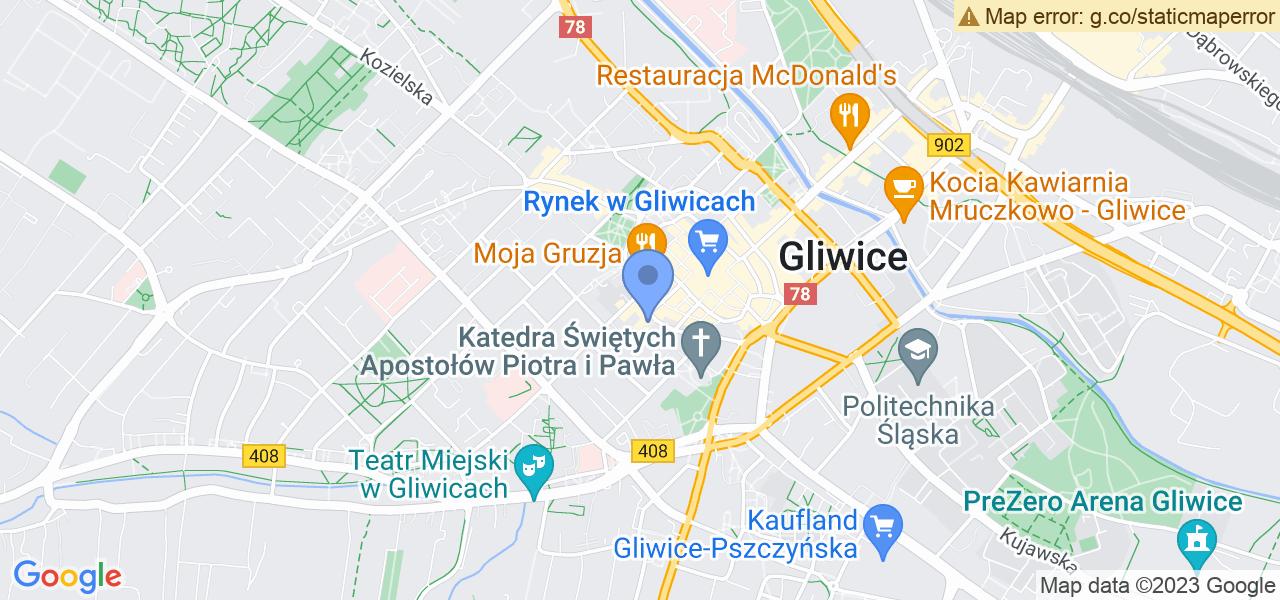 Jedna z ulic w Gliwicach – Górnych Wałów i mapa dostępnych punktów wysyłki uszkodzonej turbiny do autoryzowanego serwisu regeneracji