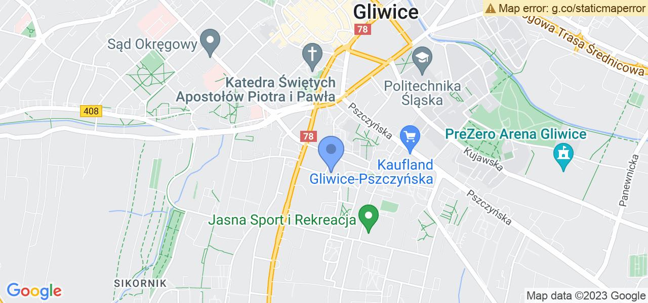 Jedna z ulic w Gliwicach – Jana Kochanowskiego i mapa dostępnych punktów wysyłki uszkodzonej turbiny do autoryzowanego serwisu regeneracji