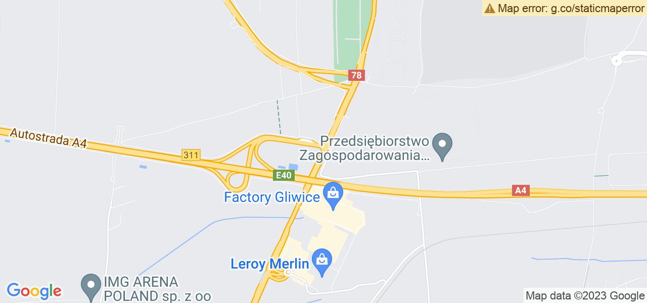 Jedna z ulic w Gliwicach – Rybnicka i mapa dostępnych punktów wysyłki uszkodzonej turbiny do autoryzowanego serwisu regeneracji