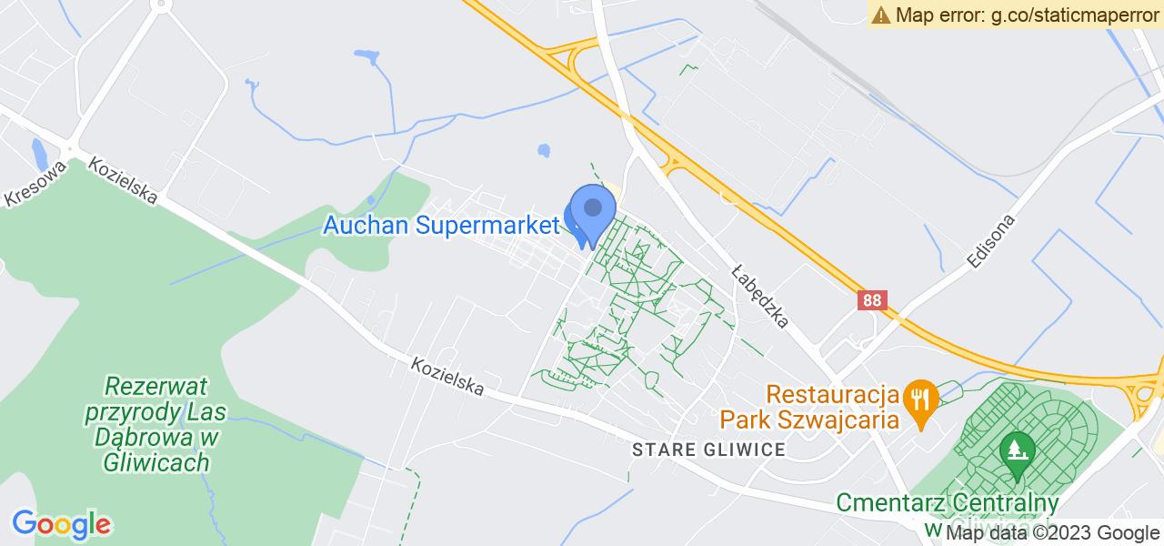 Jedna z ulic w Gliwicach – Szafirowa i mapa dostępnych punktów wysyłki uszkodzonej turbiny do autoryzowanego serwisu regeneracji