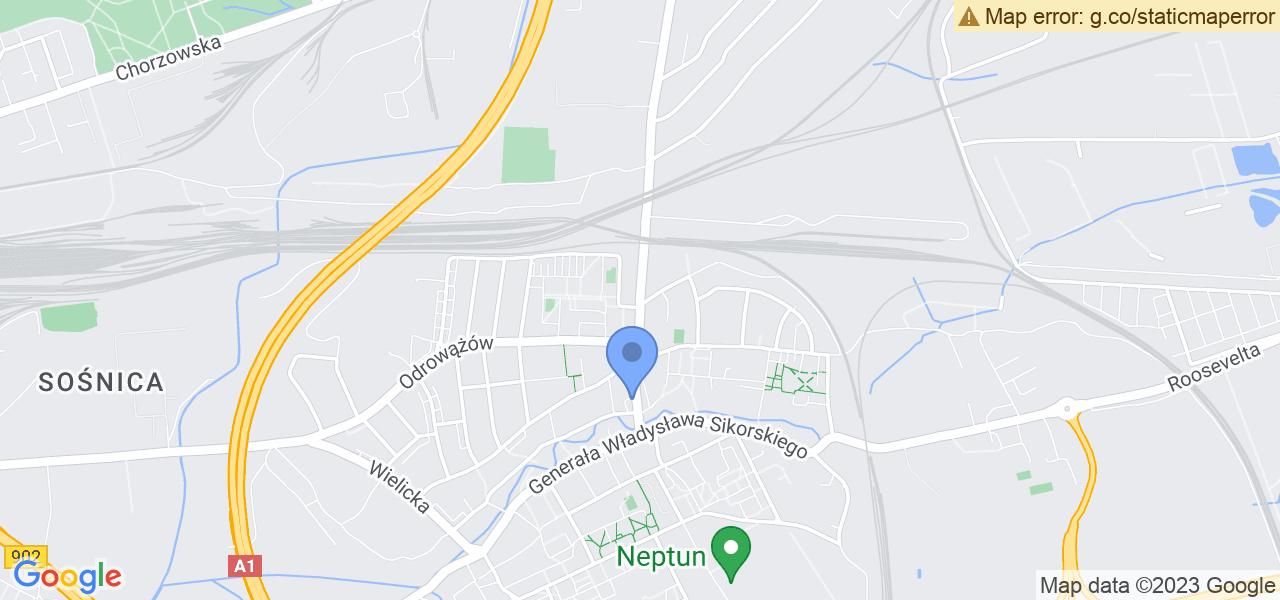 Jedna z ulic w Gliwicach – Władysława Reymonta i mapa dostępnych punktów wysyłki uszkodzonej turbiny do autoryzowanego serwisu regeneracji