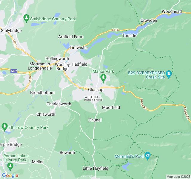 Website Designer Glossop Google map of location