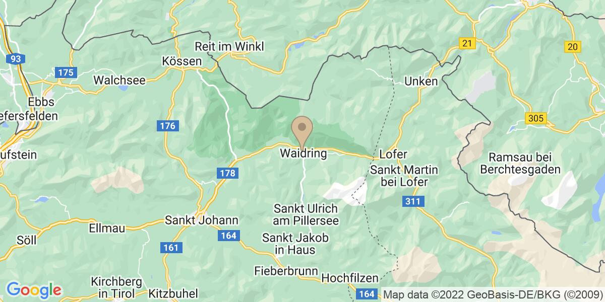 Google Map of Grünwaldweg 10, 6384 Waidring