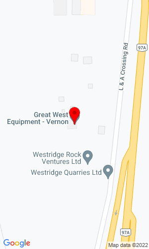 Google Map of Great West Equipment 1600 Kosmina Road, Vernon, BC, CN,