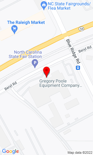 Google Map of Gregory Poole CAT 4807 Beryl Road, Raleigh, NC, 27606