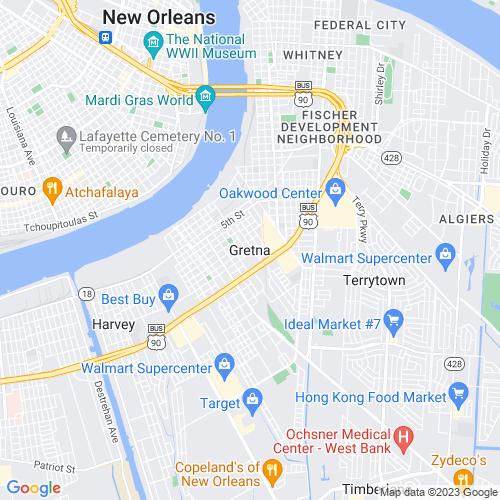 Map of Gretna, LA