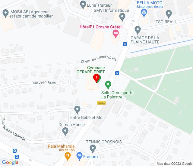 Google Map of Gymnase Gérard Priet 15 avenue Léon jouhaux 91560 crosne