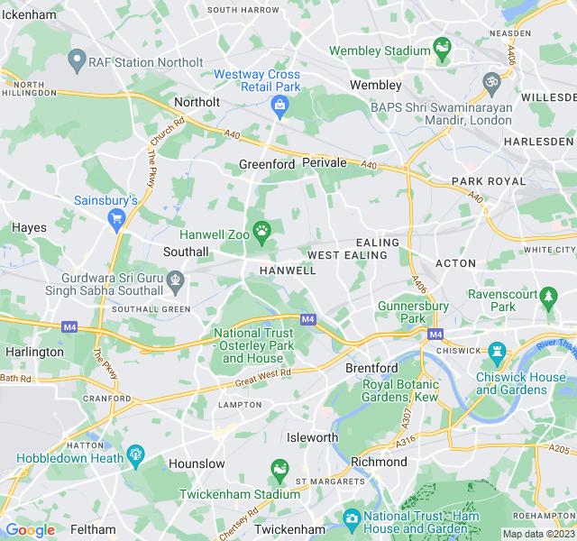 Website Designer Hanwell Google map of location