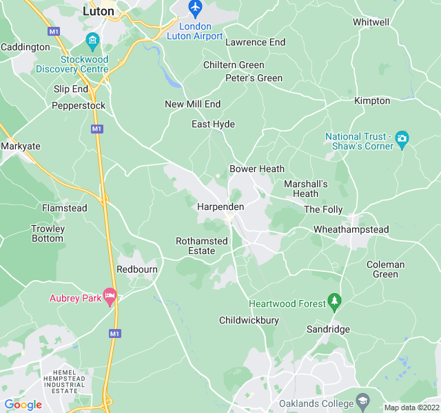 Website Designer Harpenden Google map of location