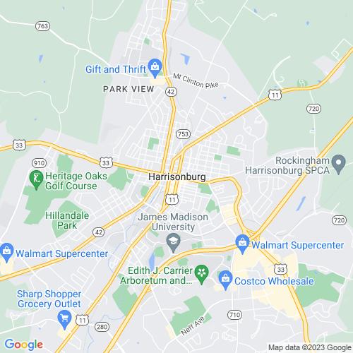 Map of Harrisonburg, VA