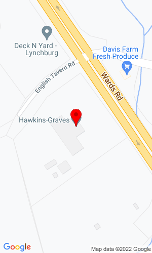 Google Map of Hawkins-Graves, Inc. 13432 Wards Road, Lynchburg, VA, 24501