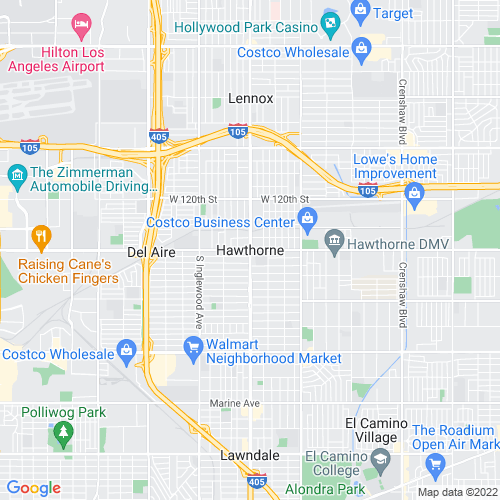 Map of Hawthorne, CA