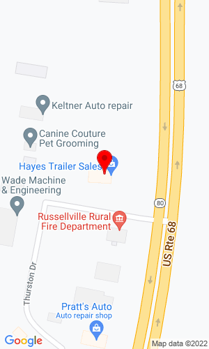 Google Map of Hayes Trailer Sales 102 Fischer Drive, Russellville, KY, 42276
