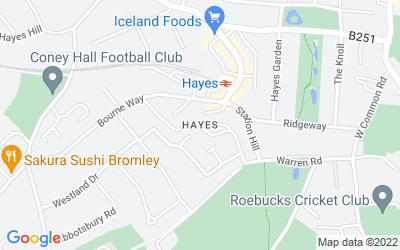 Map of Hayes, Bromley Kent