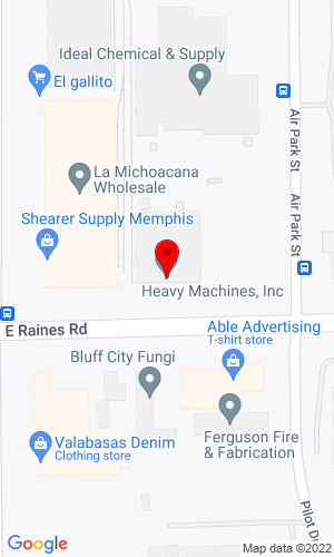 Google Map of Heavy Machines Inc. 3926 East Raines Road, Memphis, TN, 38118
