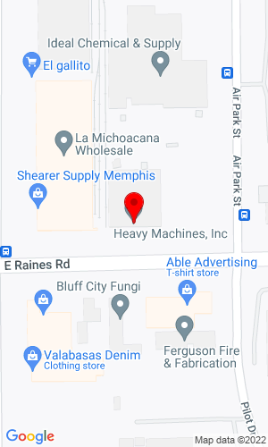 Google Map of Heavy Machines Inc. 3926 East Raines Road, Memphis, TN, 38118,
