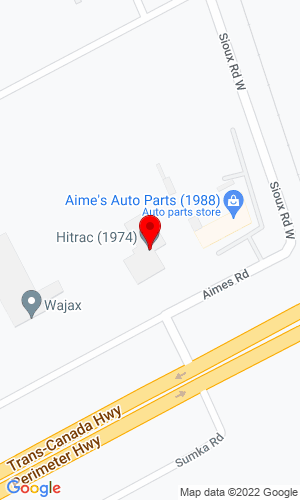 Google Map of Hi Trac Equipment 45 Aimes Road, Winnipeg, MB, R3X1Z6