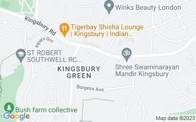 Map of Highview Motors, Kingsbury Works, Kingsbury Road