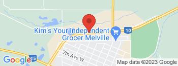 Google Map of Highway+%2310+%26+Columbia+Street%2CMelville%2CSaskatchewan+S0A+2P0