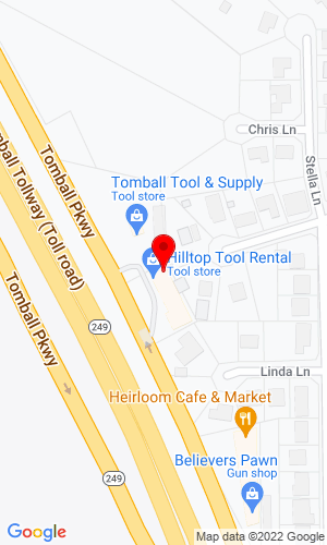 Google Map of Hilltop Tool Rental P.O. Box 1030 , Tomball, TX, 77377,