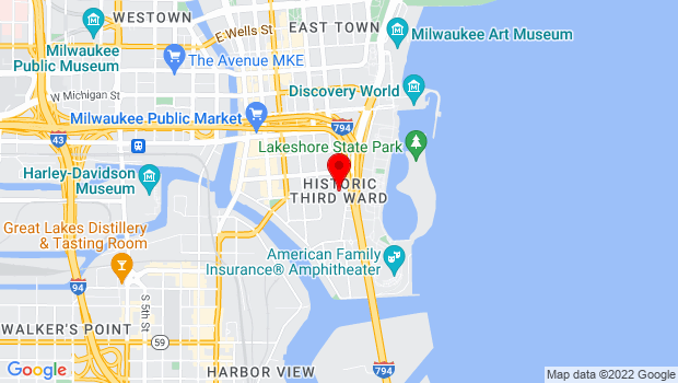 Google Map of Historic Third Ward, Milwaukee, WI 53202