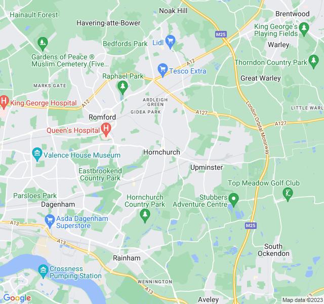 Website Designer Hornchurch Google map of location